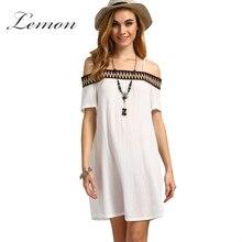 Lemon White Slash Neck Mini Dress Women Sexy Off Shoulder Loose Camis Casual Dress Female Sweet Pleated Dress Vestidos