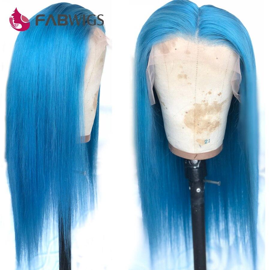 Perruques en dentelle bleue avant perruques de cheveux humains pré-cueillies perruques en dentelle transparente avant brésilienne Remy perruques en dentelle bleu ciel
