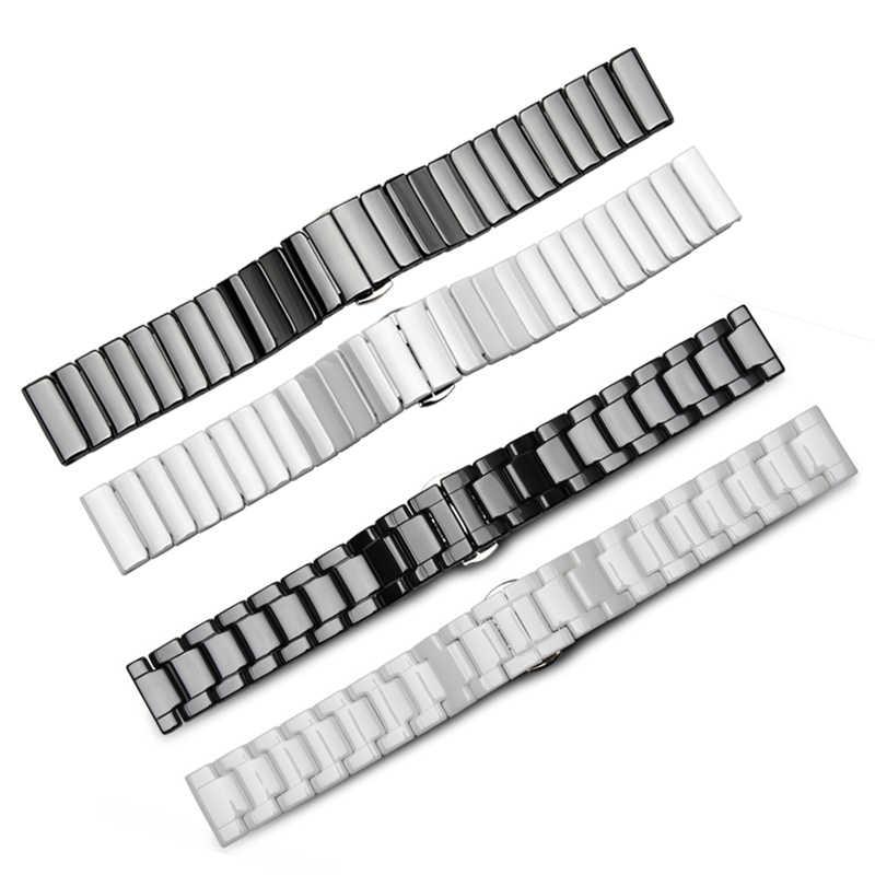 Kualitas Tinggi Keramik Watchband 14 15 16 17 18 19 20 21 22 Mm Hitam Putih Tali Jam Tangan untuk Pria dan Wanita Gelang