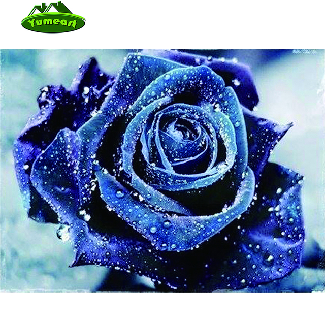 item diamond pasted painting rose fashion stitch drill rhinestone full blue wall cross water flower decoration