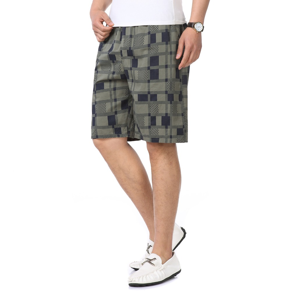 Men Summer Beach Short Khaki Army Green Boardshort Man Leisure Bottoms Male Elastic Waist Board Shorts Man Plaid Cotton Short XL