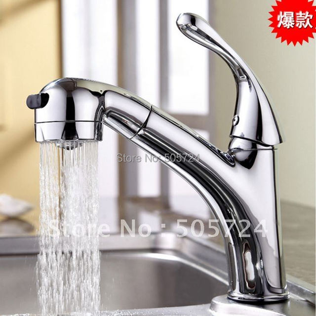 Free shipping wholesale hot sale single handle centerset bathroom pull out modern basin faucets tap mixer for hair beauty 3004