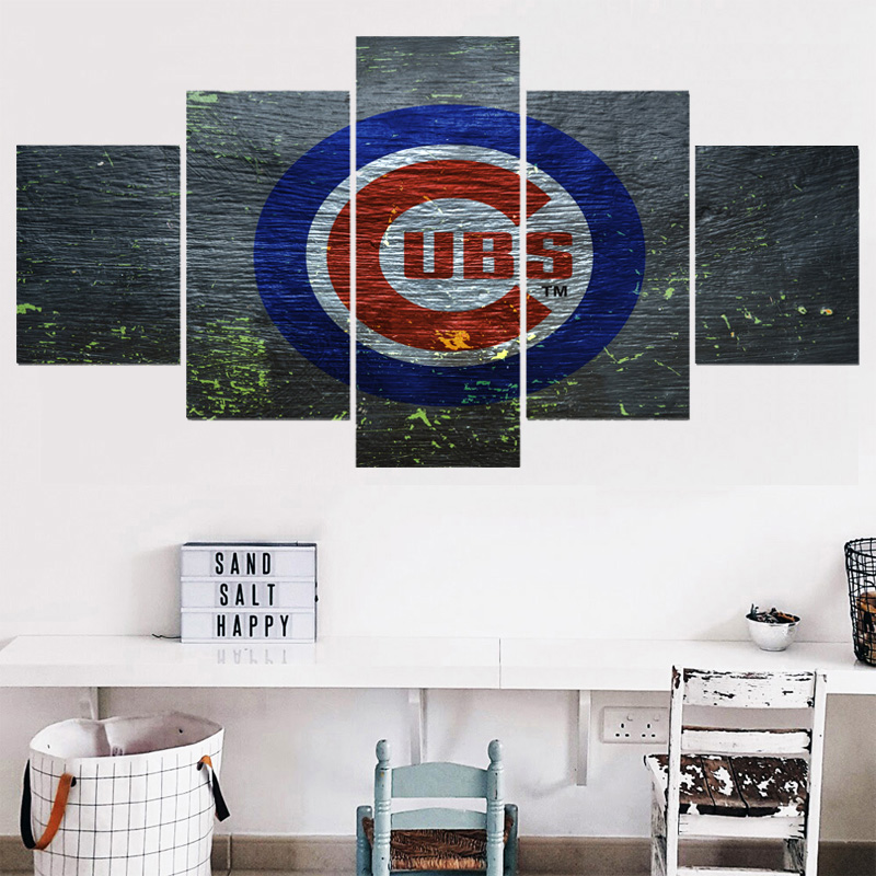 Hot 5 Panel Home Decor Picture Champions Chicago Cubs