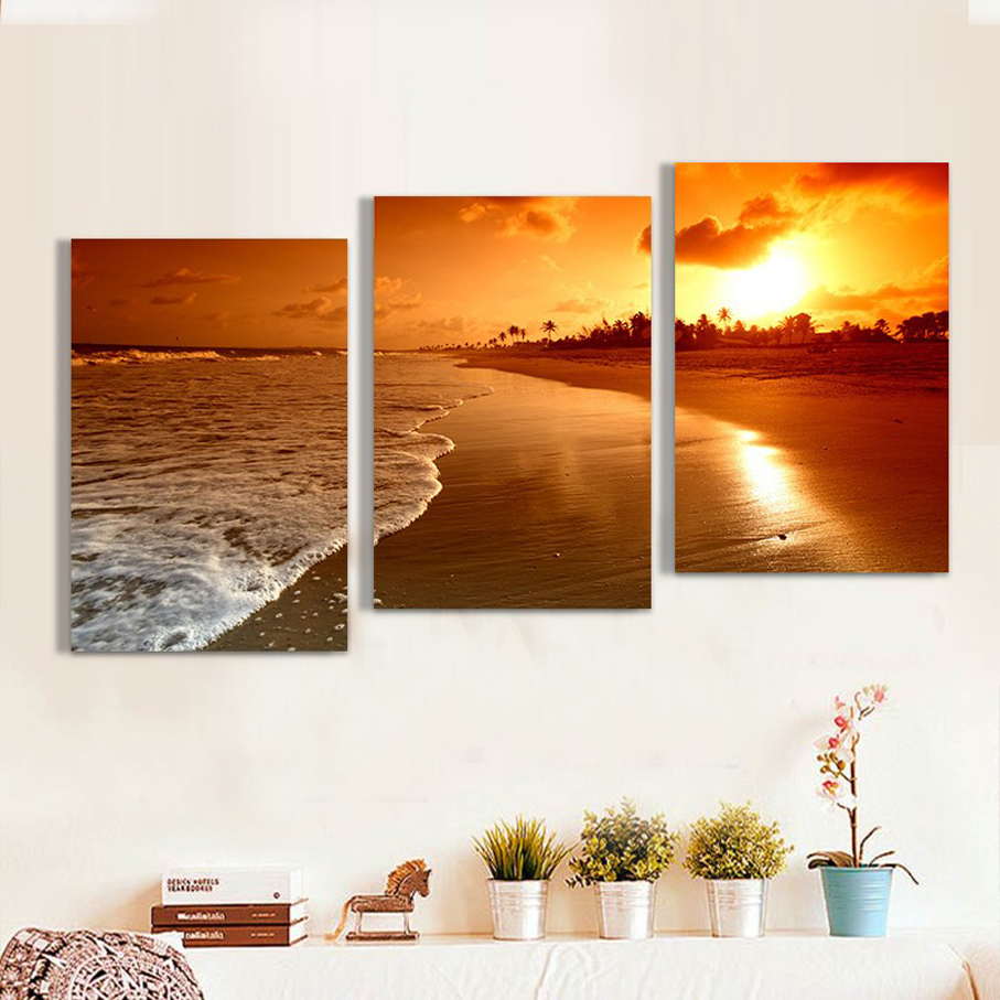 3 Piece Beach Sunset Canvas Print Decor Poster Modular Picture Painting Prints on the wall for Sitting Room Stretched and Framed