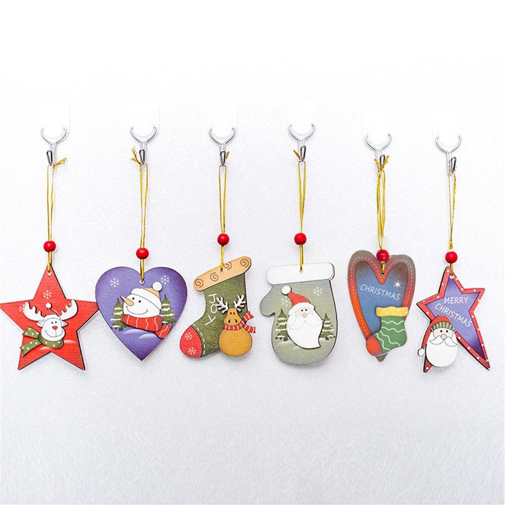 Diamond Frugal 6 Pcs Santa Christmas Tree Wood Sleigh Pendant Gift Home Door Hanging Decoration 2018 Xmas Decorations For Home