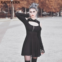 Gothic harajuku women hoodies mini dress cold shoulder cut out slim long sleeve party 2019 spring dress streetwear gothic dress