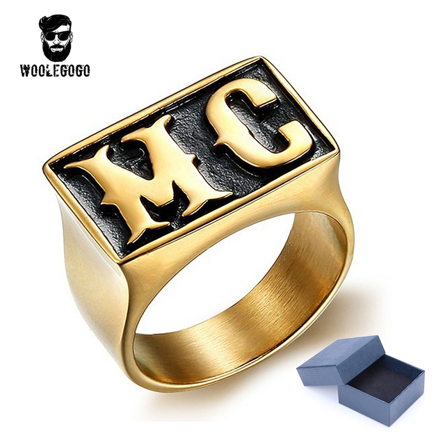 Couple Hd Mc Letter Rings Stainless Steel Gold Silver Ring Vintage