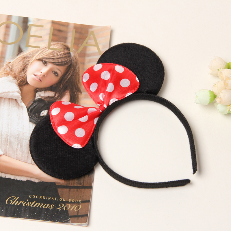 Cute Red Bows Minnie Mouse Ears Party Kids Headbands Boys Girl Adult Mickey Mouse Hairband birthday supplies Party Accessories