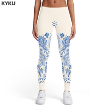 KYKU Brand Blue And White Porcelain Leggings Women Spandex Flower Sexy Art Ladies Abstract 3d Print Womens Pants