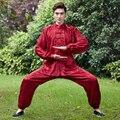 High Quality Red Chinese Men Kung fu Wu Shu Uniform Satin Tai Chi Suit Print Wushu Clothing XXS XS S M L XL XXL XXXL 2526