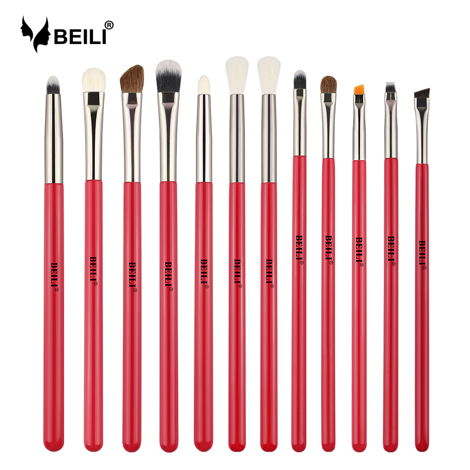 BEILI Red Eye Makeup Brush Set Goat Hair Pony Hair Synthetic Hair Eye Shadow Blending Makeup Brush Set Professional