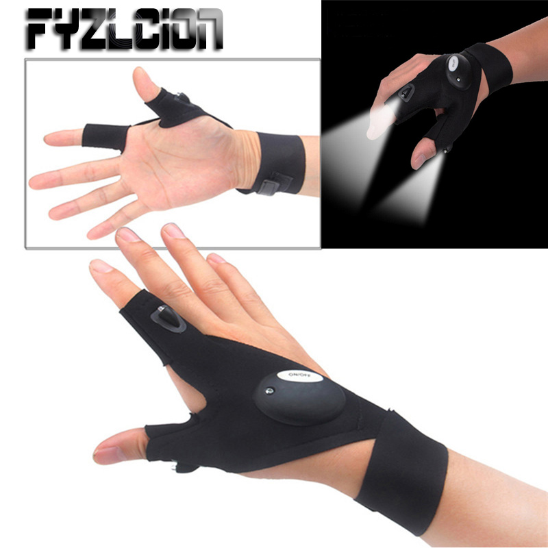 One Piece Finger Gloves with LED Light Flashlight Camping Hunting Left/Right Hand Fishing Magic Strap