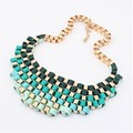 F&U Handmade Ribbon Wattled Multilayer Necklace European Style Exaggerated Colorful Street Punk Necklace for Women#N287