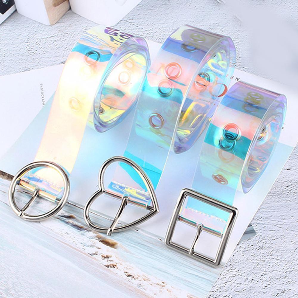 New Laser Women Belt Holographic Clear Waist Belt Metal Pin Buckle  Transparent Waist Belts for Women Belt Waistband 90cm 120cm