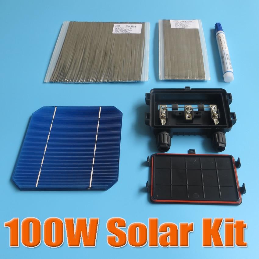 100w Diy Solar Panel Kit 5x5 125 Monocrystalline 100watt Mono Cell Tab Wire Bus Flux