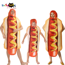 Combinaison de saucisses imprimée en 3D pour hommes, Costumes de chien chaud pour enfants, déguisement dhalloween, tenue de Festival et dadulte, assorti pour la famille