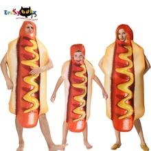 Degli uomini Divertente 3D Stampa Salsiccia Tuta Food Hot Dog Costumi Bambini Costume di Halloween Per Adulti Festival Famiglia di Corrispondenza del Vestito Operato