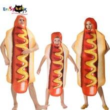 Engraçado dos homens 3d impressão salsicha macacão comida cachorro quente trajes crianças halloween traje adulto festival família combinando vestido fantasia