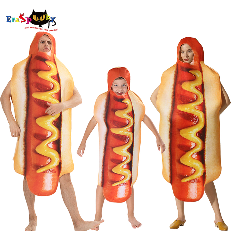 Men's Funny 3D Print Sausage Jumpsuit Food Hot Dog Costumes Kids Halloween Costume Adult Festival Family Matching Fancy Dress