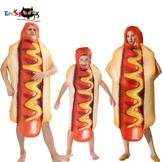 Mens Funny 3D Print Sausage Jumpsuit Food Hot Dog Costumes Kids Halloween Costume Adult Festival Family Matching Fancy Dress