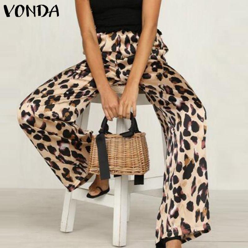 VONDA Plus Size   Wide     Leg     Pants   Women Leopard   Pants   2019 Sexy Casual Loose Long Print Trousers Autumn Summer Elastic Waist Bottom