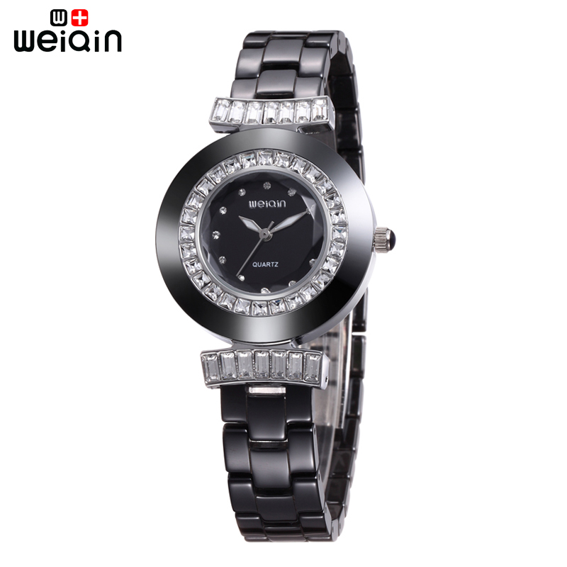 WEIQIN Dress Fashion Crystal Diamond Women Watches 100% Ceramic Clock For Woman New Arrival Luxury  Relogio Feminino 2017 weiqin luxury crystal diamond gold bracelet watches women ladies fashion bangle dress watch woman clock hour relogio feminino