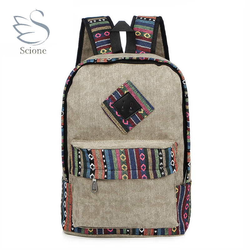 Chinese Style Women's Canvas Backpack School Bag Girls Ladies Teenagers Unisex Casual Travel Bags Mochila Laptop Bagpack 16