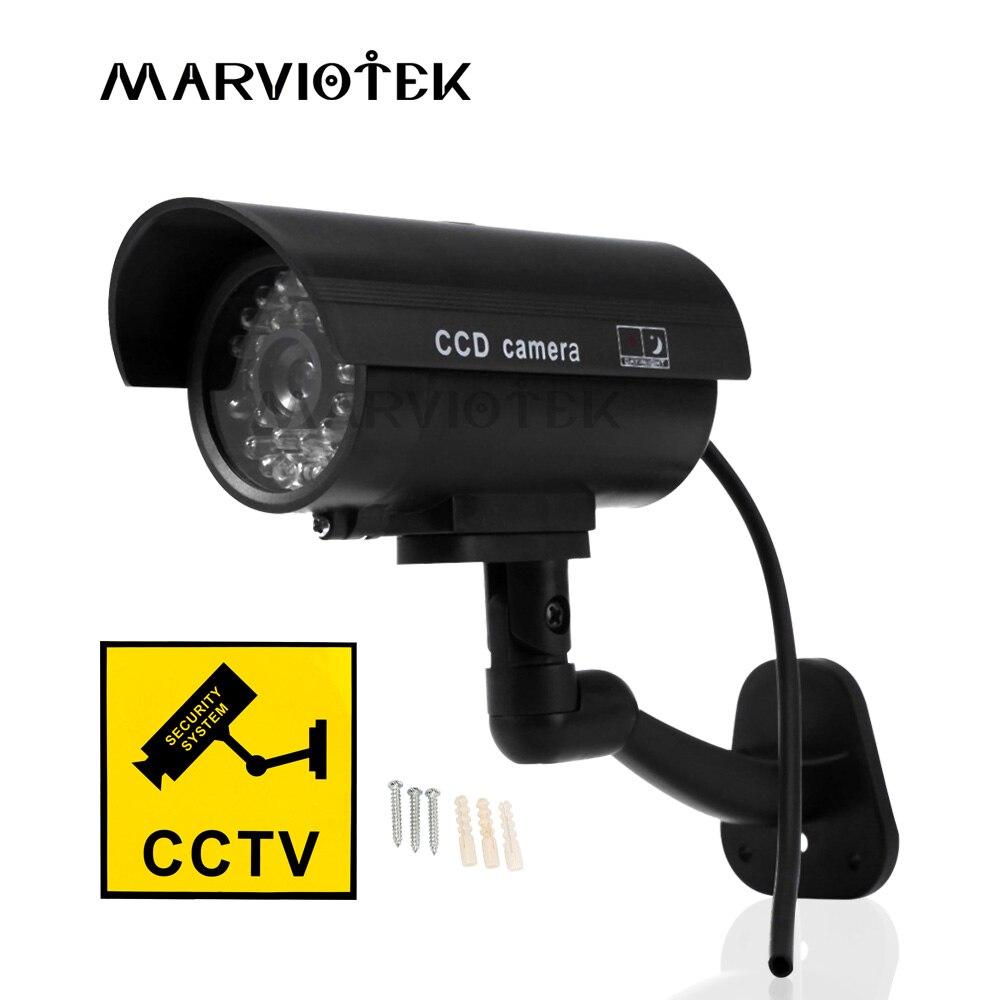 MARVIOTEK fausse caméra factice extérieure étanche sécurité vidéo Surveillance caméra intérieure nuit CAM avec lumière LED