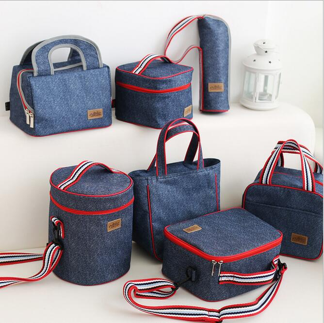 2017 New Fashion Portable insulated denim lunch bag heat bag hot food picnic bag for Women kids Men Cooler Lunch Box Bag Tote