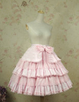 HistoricalCustomer made Pink Sweet Lolita BOTTOMS Cocktail Cosplay Victorian dress Three layer Pleats Lace skirt V 909