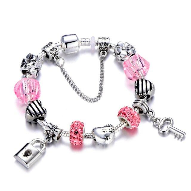 1b50a71b2 SPINNER Romantic Love DIY Charm Bracelet Love Heart Key and Lock Pandora  Bracelet for Women Jewelry