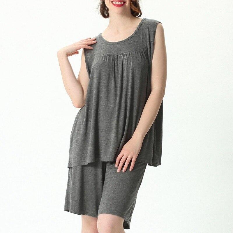 Mferlier Female Nightwear Set Large Size 4XL 5XL 6XL 7XL Ladies Solid Loose Elastic Pink Gray Black Blue Women Pajamas Set
