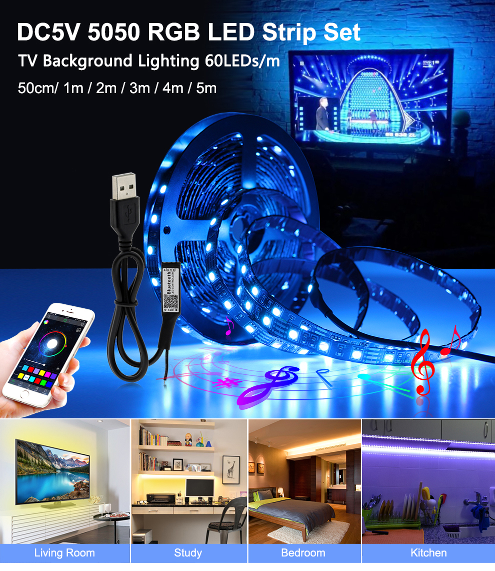 USB LED Strip RGB Changeable LED TV Background Lighting 50CM 1M 2M 3M 4M 5M DIY 5V Flexible LED Light Tape RGB LED Strip 5050.
