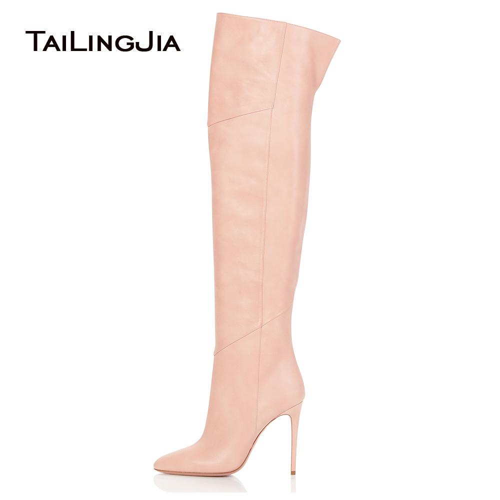 Thigh High Boots Female Winter Boots Women Over The Knee Boots Pointed Toe Fashion Shoes 2018 Big Size Black Pink New Shoes 2018 new winter women over the knee boots high heel pointed toe sexy ladies women shoes red black long thigh high boots big size