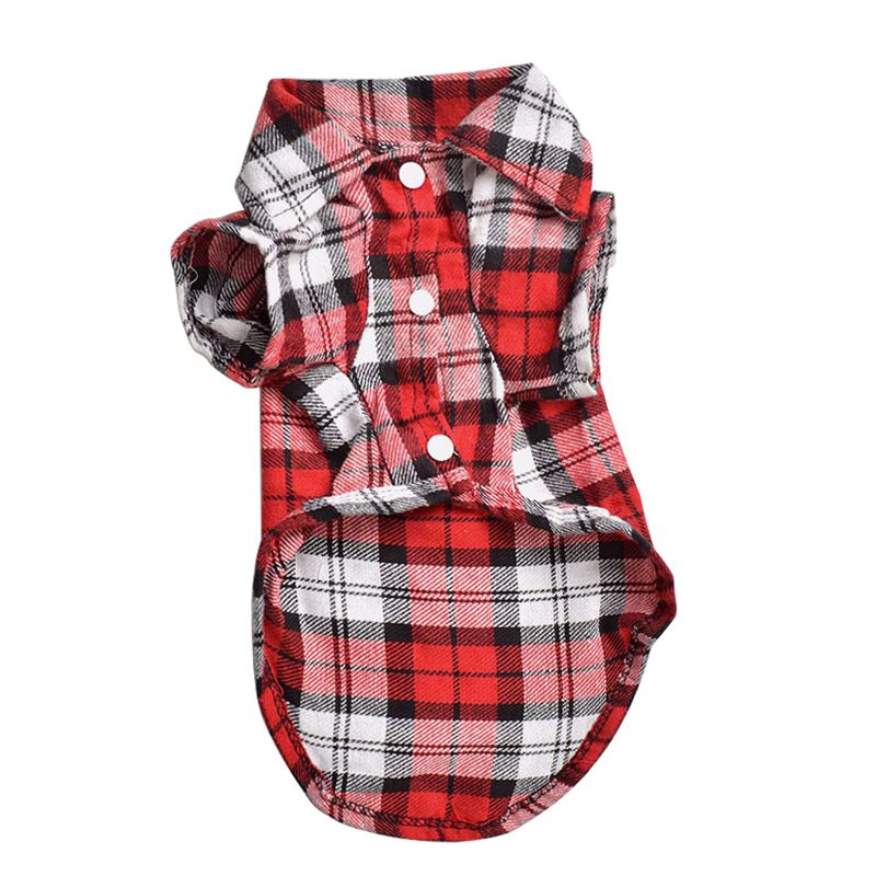 Top Plaid Grid Shirt Revers Costume Dog Clothes Festival T-shirt Autumn Spring Dog Clothes Cat