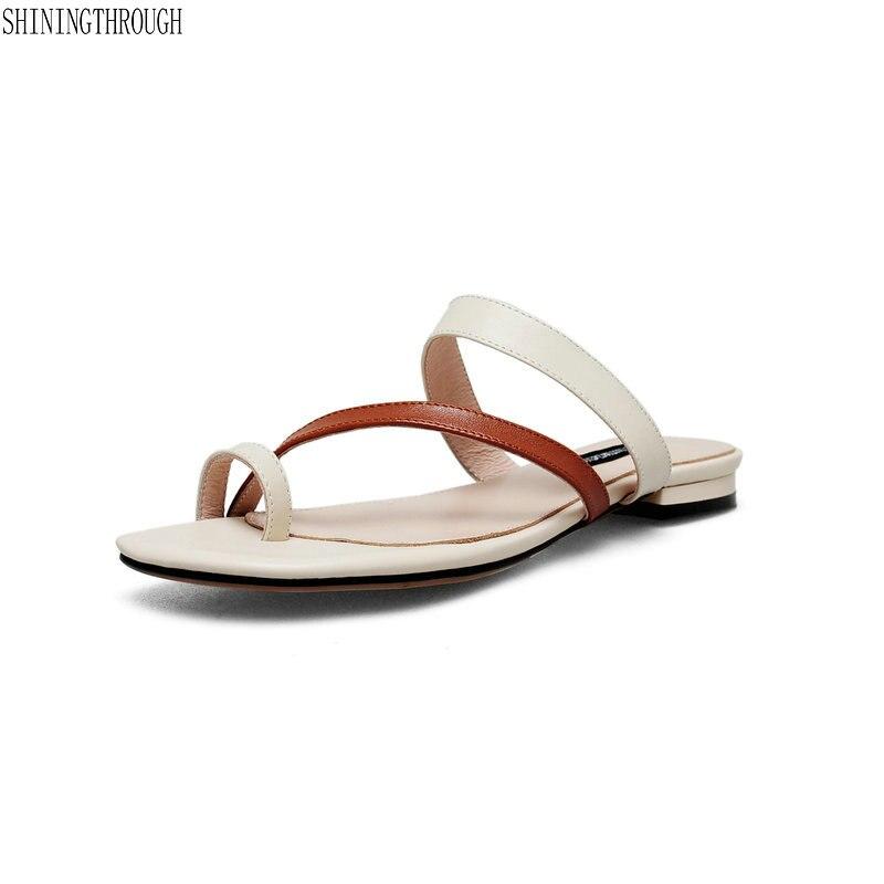 2018 Del Cuoio Genuino Delle Donne Pantofole Appartamenti Al Di Fuori Diapositive Donna Casual Scarpe Donna Estate