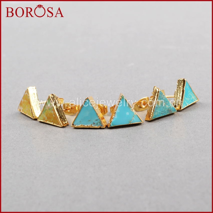 BOROSA trojúhelník tvar křemenné Druzy náušnice přírodní modrý kámen kámen Druzy náušnice Quartz Crystal šperky G0472
