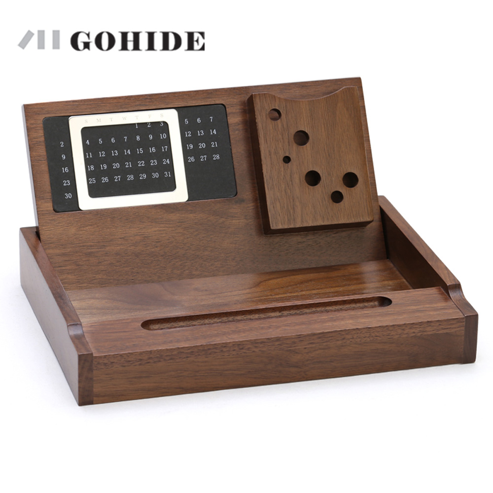 office wood desk. JUH Gohide Luxury Office Storage Box Wooden Desktop Stationery Maple Organizer With Calendar Pen Loop Name Card Holder ZLCP-in Boxes \u0026 Bins From Wood Desk F