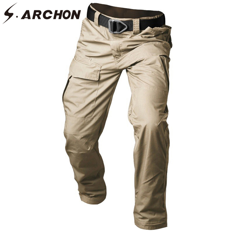 S.ARCHON New Tactical Pants Men Camouflage Waterproof Combat Military Cargo Pants Casual Elastic Multi Pocket Men Trousers