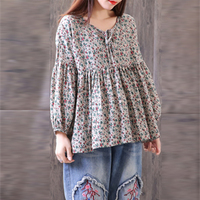 ZANZEA Women Boho Floral Print O Neck Lace Up Pleated Baggy Top Shirt Casual Cotton Linen