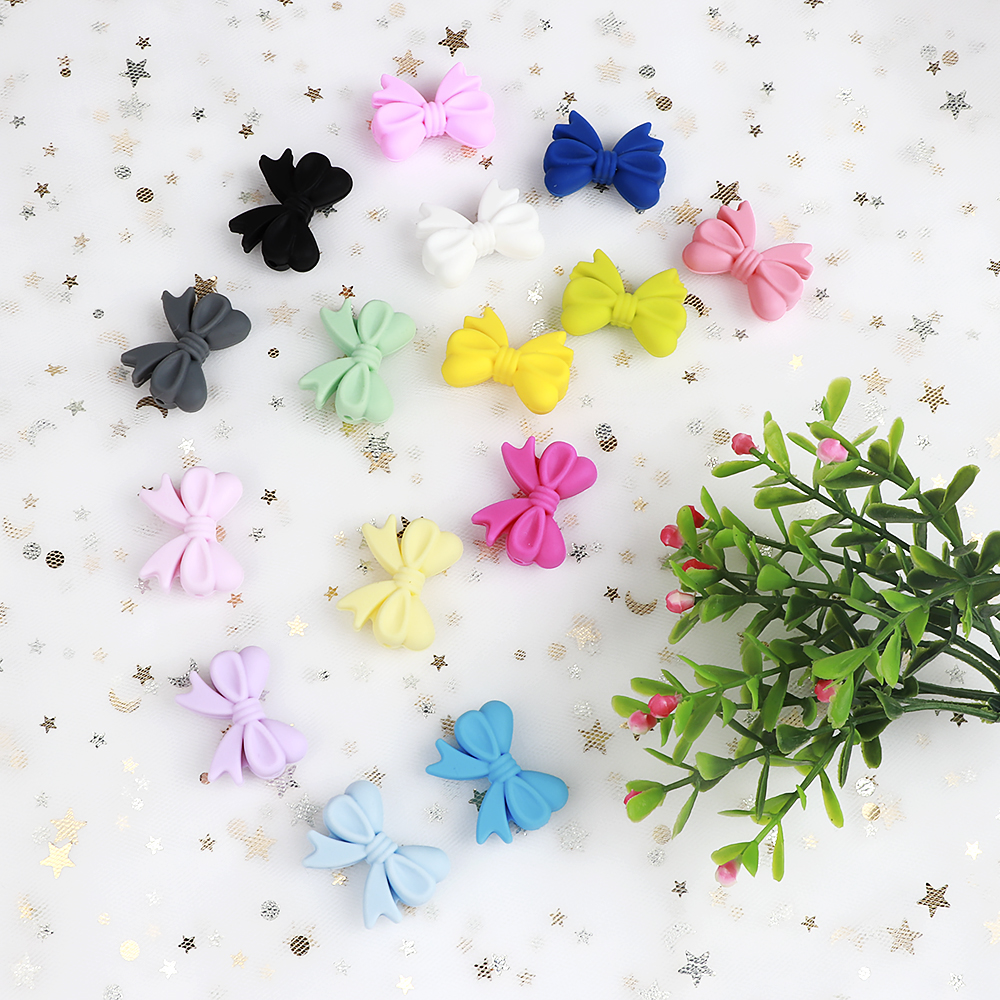 TYRY.HU 10pcs Bow Tie Teething Beads BPA Free DIY Baby Chewable Teether Chain Knot Lot Pacifier Chain Silicone Beads