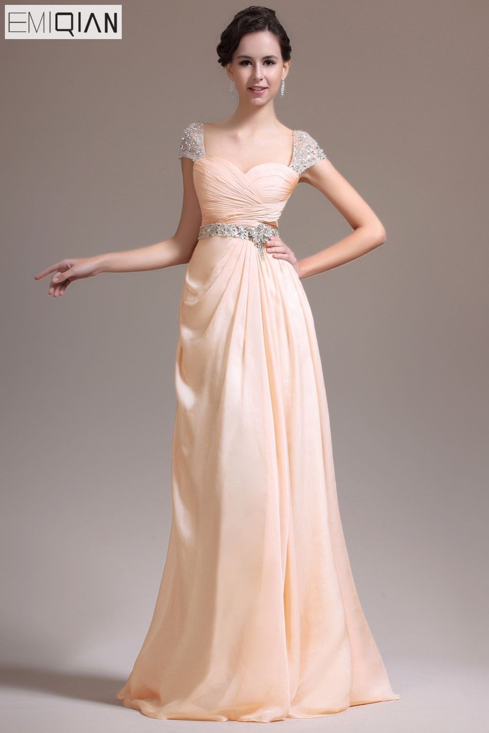 Freeshipping New Gorgeous Cap Sleeves A-line Sweetheart Neckline Floor-length Evening Dresses