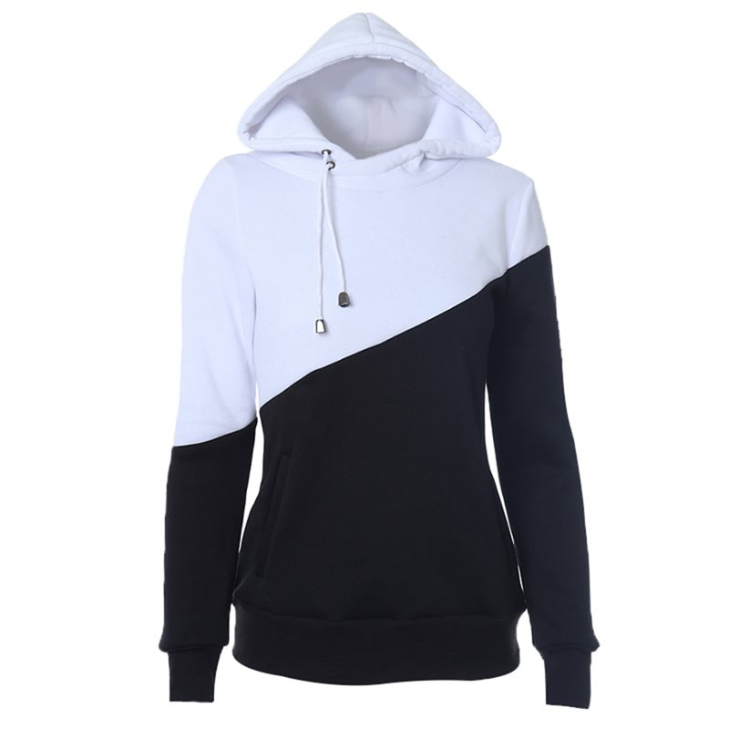 Casual Black Hoodie Women Harajuku Patchwork Fashion Basic Hoodies Spring Autumn Hooded Top Ladies Streetwear Fitness Sweatshirt(China)