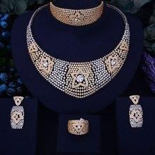 GODKI Luxury Twinkle Star Women Nigerian Wedding Naija Bride Cubic Zirconia Necklace Dubai 4PCS Wedding Jewelry Set