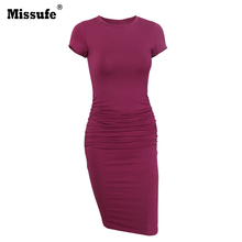 Missufe Side Ruched Pencil Vestidos Casual 2017 Summer Sexy Party Tunic Wear To Work Office Vintage Bandage Bodycon Women Dress