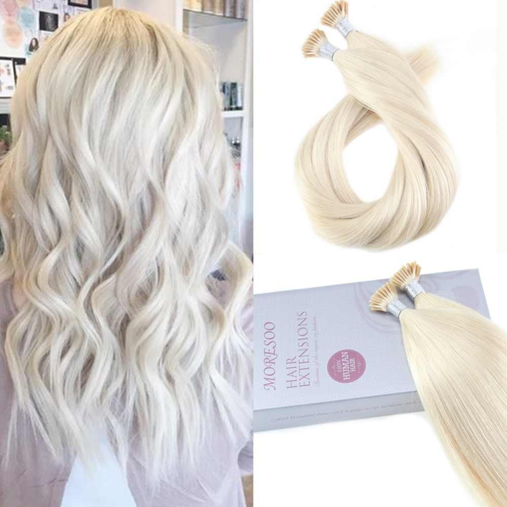 Moresoo, платиновый блонд, #60, накладные волосы на концах, человеческие волосы, настоящие бразильские волосы, кератиновые, Предварительно Связанные волосы, 1 г/1 S, 50 S, 50G