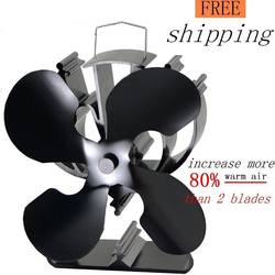 4 Blades Heat Powered Eco Stove Fan(Black) Increase More 80% Warm Air Than 2 Blade Stove Fan For Wood/Log Burner /Fireplace