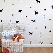 Woodland Nursery Wall Stickers Home Decor Cartoon Tree Vinyl Decal Creative Animal Forest Mural For Children Kids Room