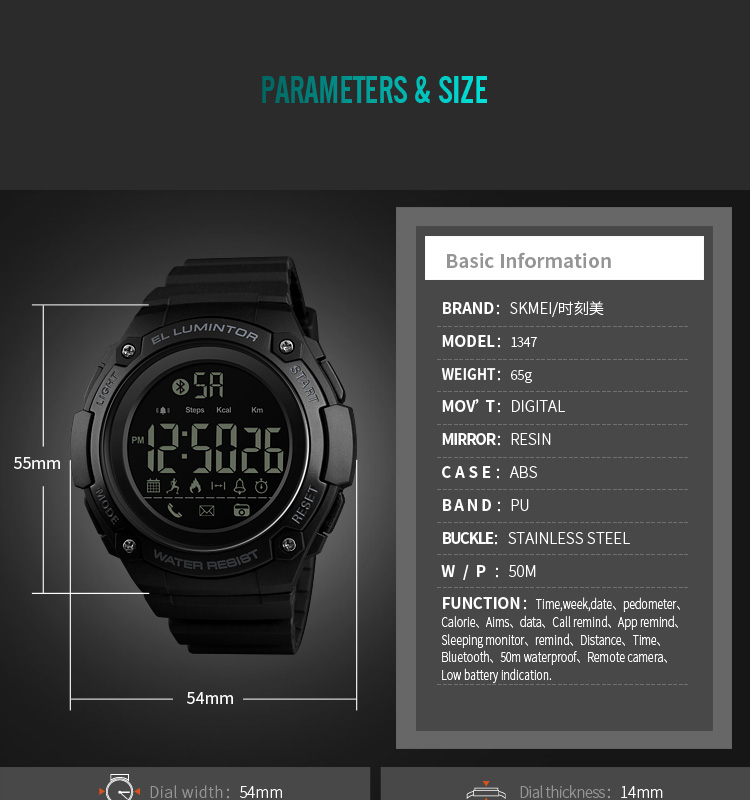 SKMEI 2019 New Bluetooth Sport Smart Watch Men Waterproof Calories Pedometer digital SmartWatch For IOS Android (13)