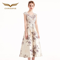 Coniefox 38390 Tea length Prom Dress 2017 Vintage Party Dress Lovely Formal Gown with Hand Made Flowers vestido de festa